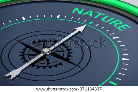 3D Compass. Nature Word. Orientation, Aim or Target Concept. - stock photo