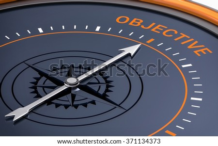 3D Compass. Objective Word. Orientation, Aim or Target Concept. - stock photo