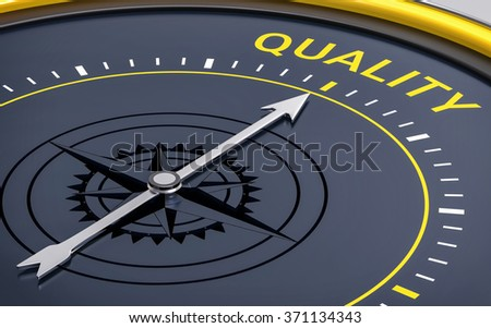 3D Compass. Quality Word. Orientation, Aim or Target Concept. - stock photo