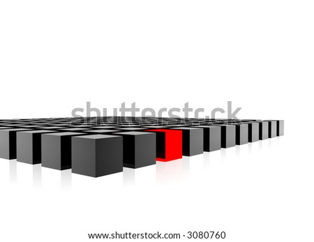 3d composition of grey cubes - individuality represented by a red cube among them - stock photo