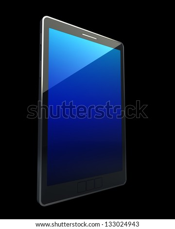 3D computer, digital Tablet pc, isolated on black background High resolution - stock photo