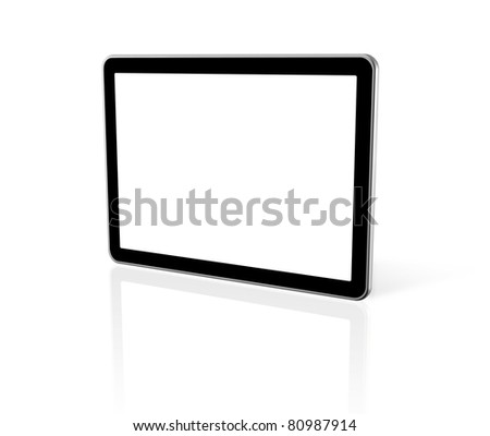 3D computer, digital Tablet pc,  tv screen, isolated on white with 2 clipping paths : one for screen and one for global scene - stock photo