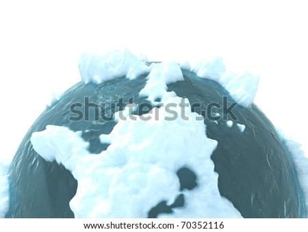 3d computer generated image of a frozen planet - stock photo