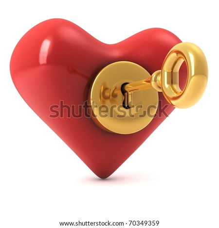 3d computer generated image of a read heart with a gold lock and a key inside isolated on white background - stock photo