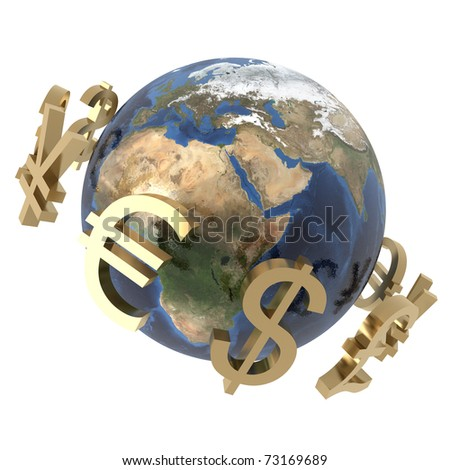 3d computer generated image of gold currency symbols around a globe isolated on white background - stock photo