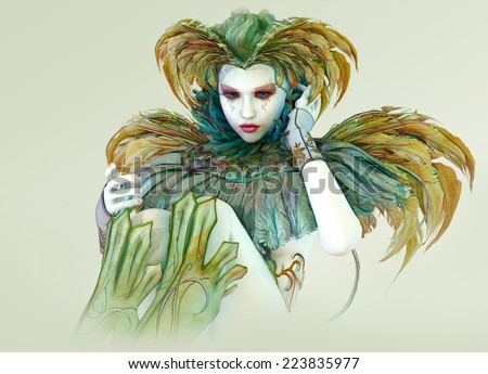 3D computer graphics of a harlequin with colorful feather jewelry - stock photo