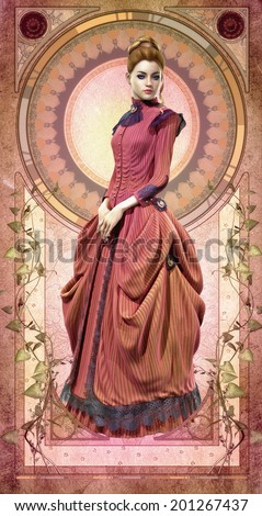3D computer graphics of a young woman with a pink dress from the 19th century - stock photo
