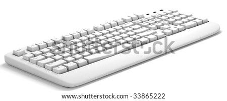 3d computer keyboard isolated on a white background - stock photo