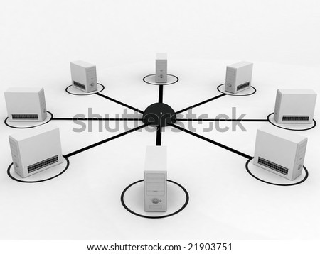 3D computer processors in network - stock photo