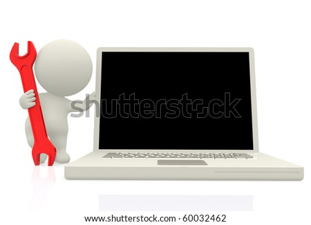 3D computer technician next to a laptop with a spanner - isolated - stock photo