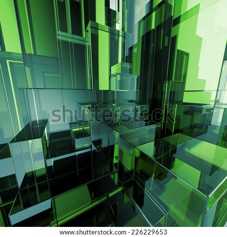 3d concept design, abstract green geometric background, architectural glass construction - stock photo