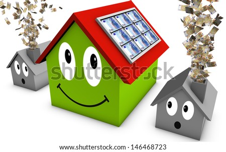 3D concept for an cheaper house - stock photo