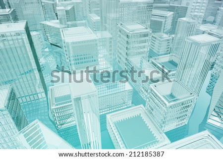 3d concept for inundation  - stock photo