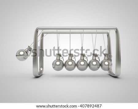 3D concept illustration of Newton cradle with grenade fuses on each swinging sphere - stock photo