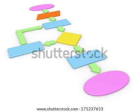 3d concept of computer algorithm - stock photo