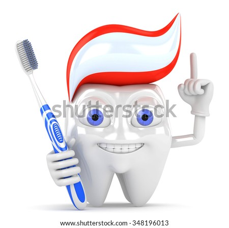 3d concept of dental treatment. Character tooth with a toothbrush on a white background. - stock photo