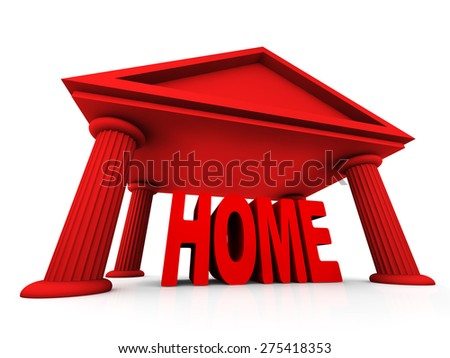3d concept of home isolated on white - stock photo