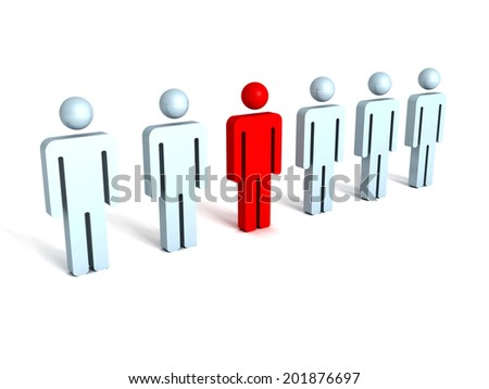 3d concept of leadership teamwork. red different person. render illustration - stock photo