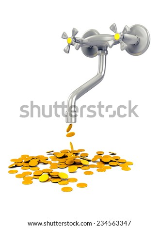 3d concept - tap with gold coins - stock photo