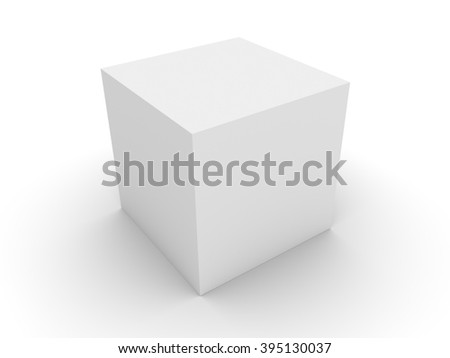 3d concept white box with the shadow  - stock photo