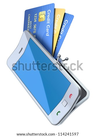 3D concept with mobile phone and credit cards - stock photo