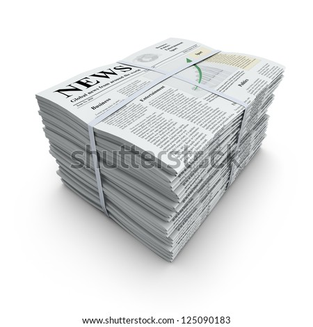 3D concept with pile of newspapers with lorem ipsum text - stock photo