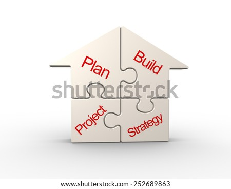 3d conceptual  house pieces of puzzle - jigsaw - stock photo