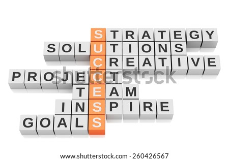 3d Conceptual image of success. Business Crossword. Isolated white background - stock photo