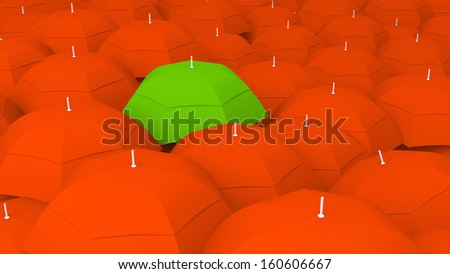 3d conceptually showing leader through umbrella unique color, the best - stock photo