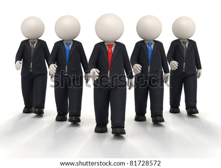 3d confident team and their leader walking towards the camera in black uniforms - Isolated - stock photo