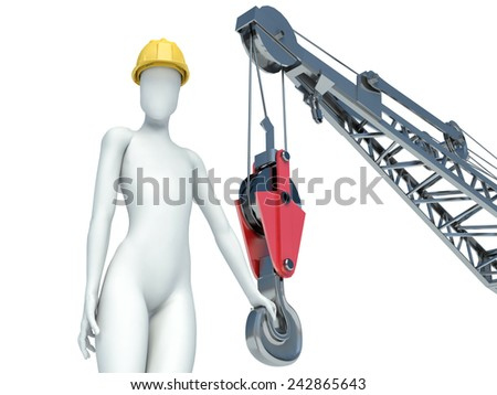 3D construction worker with helmet on white background - stock photo