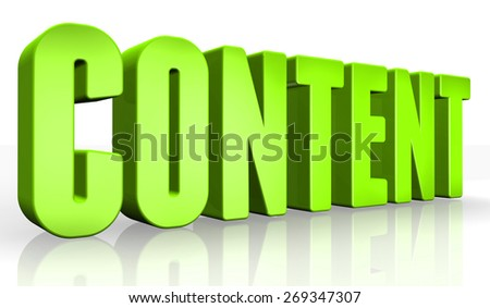 3D content text on white background - stock photo