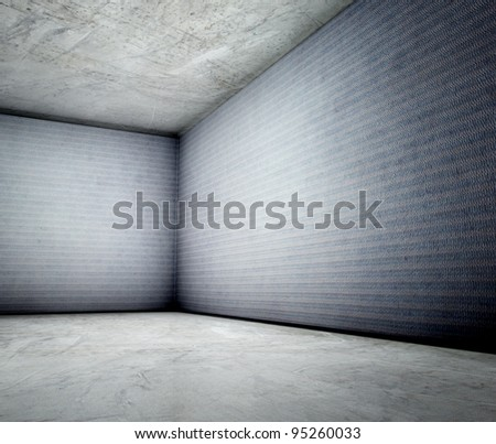 3d corner of old grunge concrete in interior - stock photo