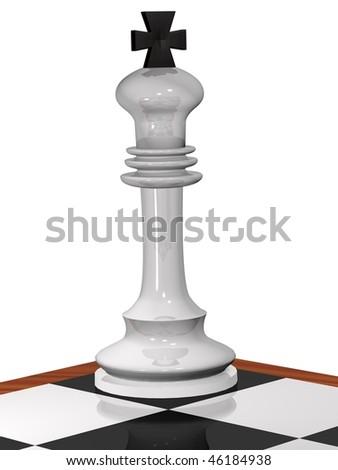 3D cornered chess white king - stock photo