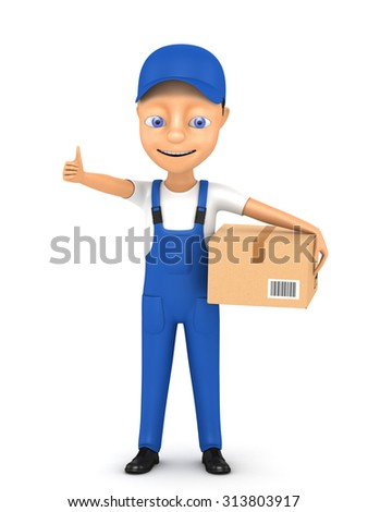 3d courier with sending on a white background - stock photo