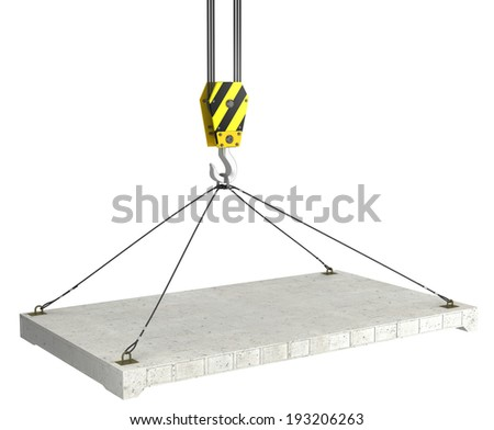 3d crane hook with concrete slab - stock photo
