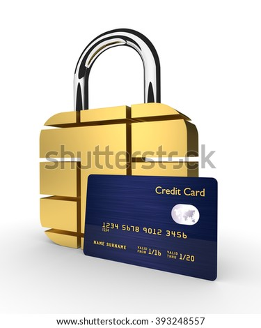 3d credit card with sim padlock isolated over white background - stock photo