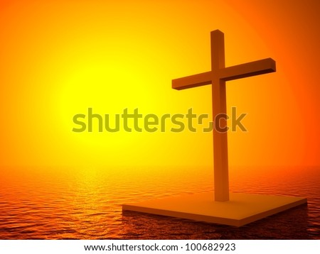 3d cross and sunset, symbol of death in the sea - stock photo