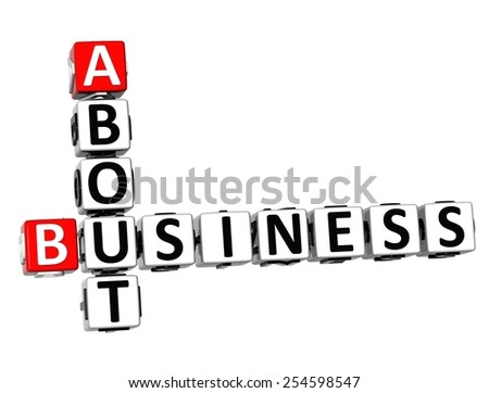 3D Crossword About Business on white background - stock photo