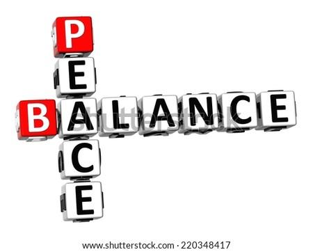 3D Crossword Balance Peace on white background - stock photo
