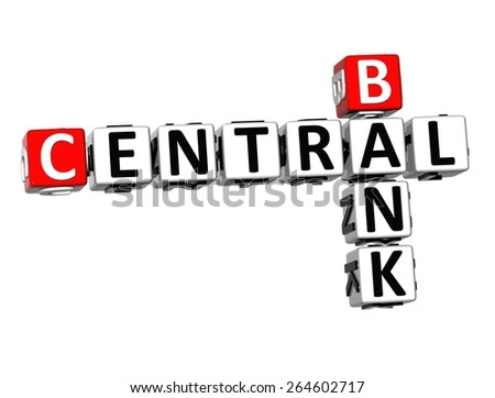 3D Crossword Central Bank on white background - stock photo