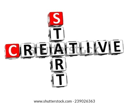 3D Crossword Creative Start on white background  - stock photo