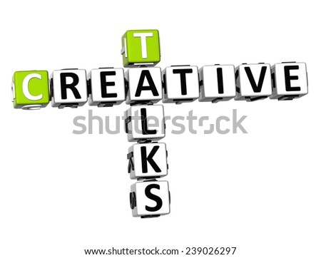 3D Crossword Creative Talks on white background  - stock photo