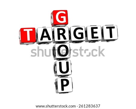 3D Crossword Group Target on white background - stock photo