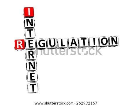 3D Crossword Internet Regulation on white background - stock photo