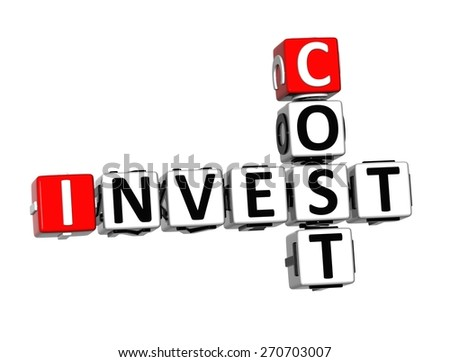 3D Crossword Invest Cost over white background. - stock photo