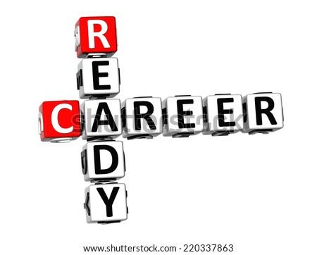 3D Crossword Ready Career on white background - stock photo