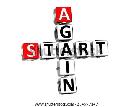 3D Crossword Start Again on white background - stock photo