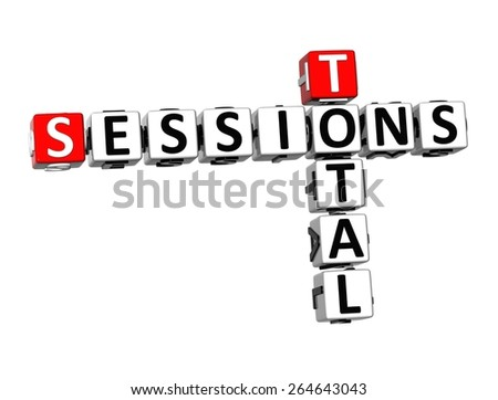 3D Crossword Total Sessions on white background - stock photo