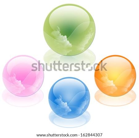 3D crystal sphere, vector illustration - stock photo